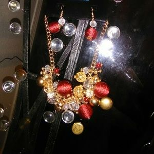 Stunning  Globe Jeweled Necklace and Earrings Set